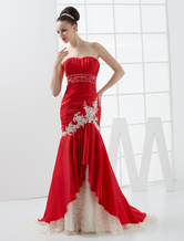 Romantic Mermaid Trumpet Empire Waist Sweetheart Beaded Taffeta Wedding Gown