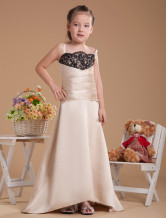 Stunning Champagne Satin Thin Shoulder Straps Floor Length Junior Bridesmaid Dress