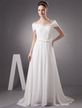 White Chiffon Off-The-Shoulder Womens Spring 2012 Wedding Trends