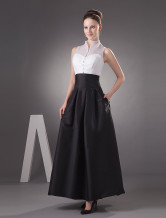 Black V-Neck Taffeta Evening Dress