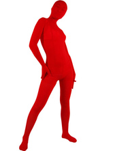 Zentai Unisexe Intgral en velours rouge pour Halloween