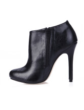 Black Stiletto Heel PU Unique Womens Ankle Boots