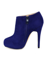 Blue Zip Closure Stiletto High Heel Flannel Womens Ankle Boots