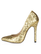Golden Stiletto Heel Sequin PU Womens Pumps