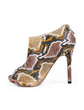 Python Pattern PU Peep Toe Womens High Heel Ankle Boots
