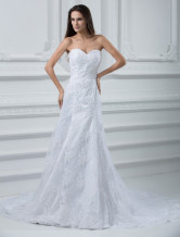 Elegant White Lace A-line Sweetheart Mermaid Trumpet Wedding Dress