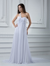 Empire Waist Ivory Chiffon Wedding Dress