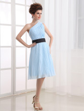 Light Blue One-Shoulder Pleated Chiffon Cocktail Dress