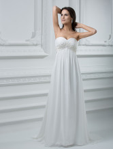 Romantic Ivory Sheath Sweetheart Strapless Empire Waist Beading Chiffon Wedding Dress
