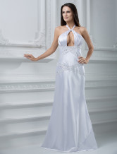 White  Hollow Chest Halter Floor-Length Wedding Dress