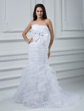 White Organza Strapless Mermaid Trumpet Wedding Dress