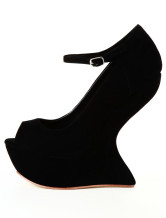 "Black 4 3/4"" High Heel 1 1/5"" Platform Wedge Sheepskin Womens Ankle Strap Pumps"