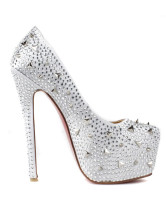 Modern Silver Silk And Satin Rhinestone Spikes Women's Platform Pumps