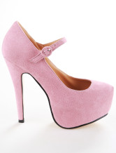 Pink Platform Sheepskin Suede Woman's  Mary Janes Pumps