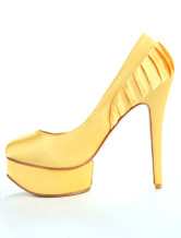Yellow Elegant Satin 1 1/5'' Platform 5 1/10'' High Heel Shoes For Women
