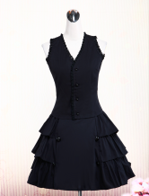 Gorgeous Black Cotton Lolita Vest And Skirt Outfits Ruffles Lace Trim