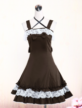Cotton Brown Lace Bow Cotton Classic Lolita Dress