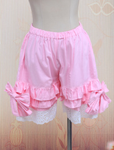 Lolitashow Cotton Pink Lace Lolita Bloomers
