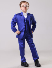 Fashion Royal Blue 100% Cotton Boys Ring Bearer Suits