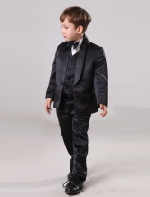 Fashion Black 30% Polyester 70% Wool Boys Ring Bearer Suits