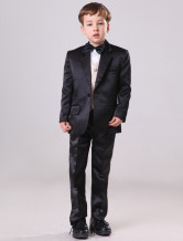 Popular Black 30% Polyester 70% Wool Boys Ring Bearer Suits