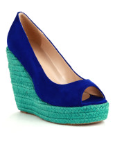 Color Block Peep Toe Wedge Heel Sheepskin Womens Espadrilles