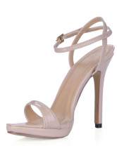 Open Toe Buckle Ankle Strap Patent Leather Womens Dress Sandals