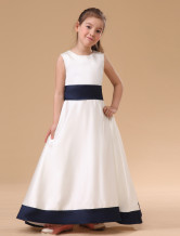White Sleeveless Bow Sash Satin Junior Bridesmaid Dress