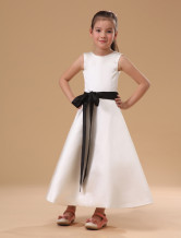 White Sleeveless Sash Satin Flower Girl Dress