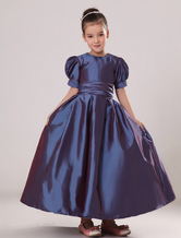 Short Puff Sleeves Taffeta Sash Flower Girl Dress