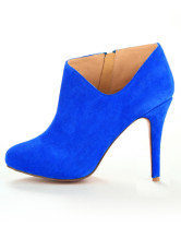 Blue Elegant Sheepskin 3 9/10'' High Heel Womens Short Boots