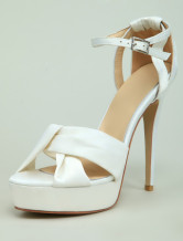 White Ankle Strap Knotted Satin Womens Dress Sandals
