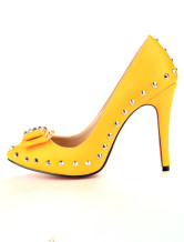 Yellow 4 3/4'' Heel Sheepskin Womens Bow Shoes