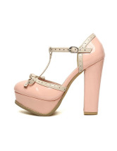 Sweet Patent Leather Bow T-strap Women's Chunky Heels
