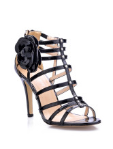 Black Flower Decoration Open Toe Patent Leather Womens Gladiator Sandals