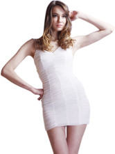 Sexy White Spandex Mesh Backless Womens Mini Dress