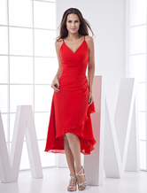 Fashion V-Neck Knee-Length Chiffon Long in Back Short in Front Evening Dress/Homecoming Dress