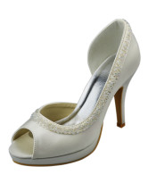 "Beautiful Beige Satin 3 9/10"" High Heel Wedding Shoes"