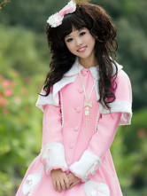 Pink Single Breasted Cashmere Polyester Lolita Coat