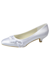 Lovely White Satin 1 2/5'' High Heel Wedding Shoes