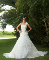 Ivory Satin Organza A-line Luxury Wedding Dress