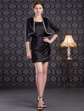 Graceful Black Knee Length Square Neck Imitated Silk Mother of the Bride Dress
