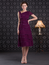 Grape Purple Mini Length Multi-Layer Pattern Chiffon Mother of the Bride Dress