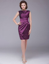Grape Purple Wrapped Waistline Beading Taffeta Mother of the Bride Dress