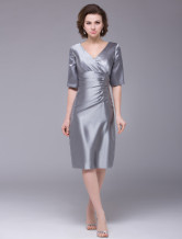 Gray V-Neck Half Sleeves Imitated Silk Mother of the Bride Dress