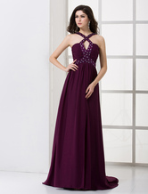 Halter Beaded Chiffon Satin Maxi Evening Dress