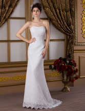 Lace White Strapless Sweetheart Mermaid Trumpet Beading Satin Wedding Dress