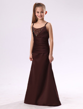 Pretty Chocolate Brown Satin Double Spaghetti Straps Floor Length Junior Bridesmaid Dress