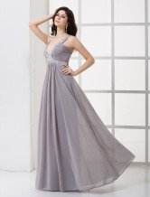 Silver Pleated V-Neck Beaded Applique Chiffon Maxi Evening Dress