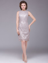 Silver Round Neck Sleeveless Lace Mother of the Bride Dress